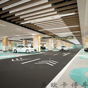 高档公寓地下停车场3D效果图